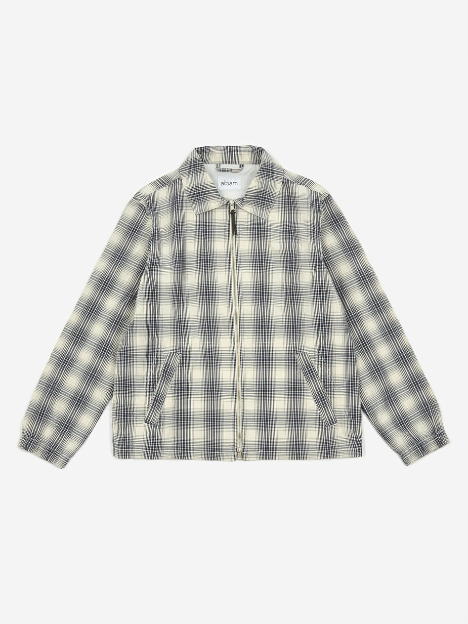 Albam Albam Over Dye Check Harrington Jacket - Ecru - Neutrals