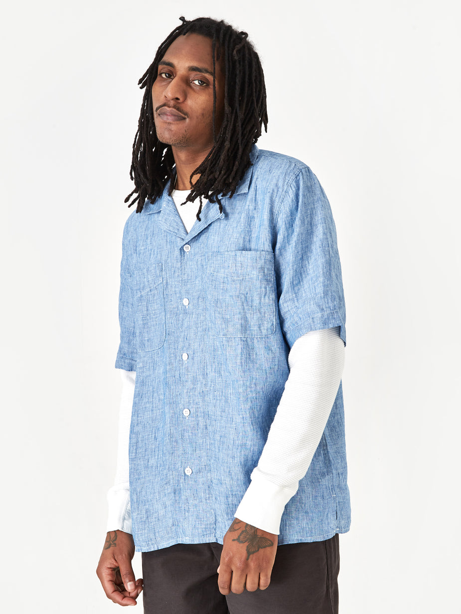 Albam Albam Revere Collar Shortsleeve Shirt - Light Blue - Blue