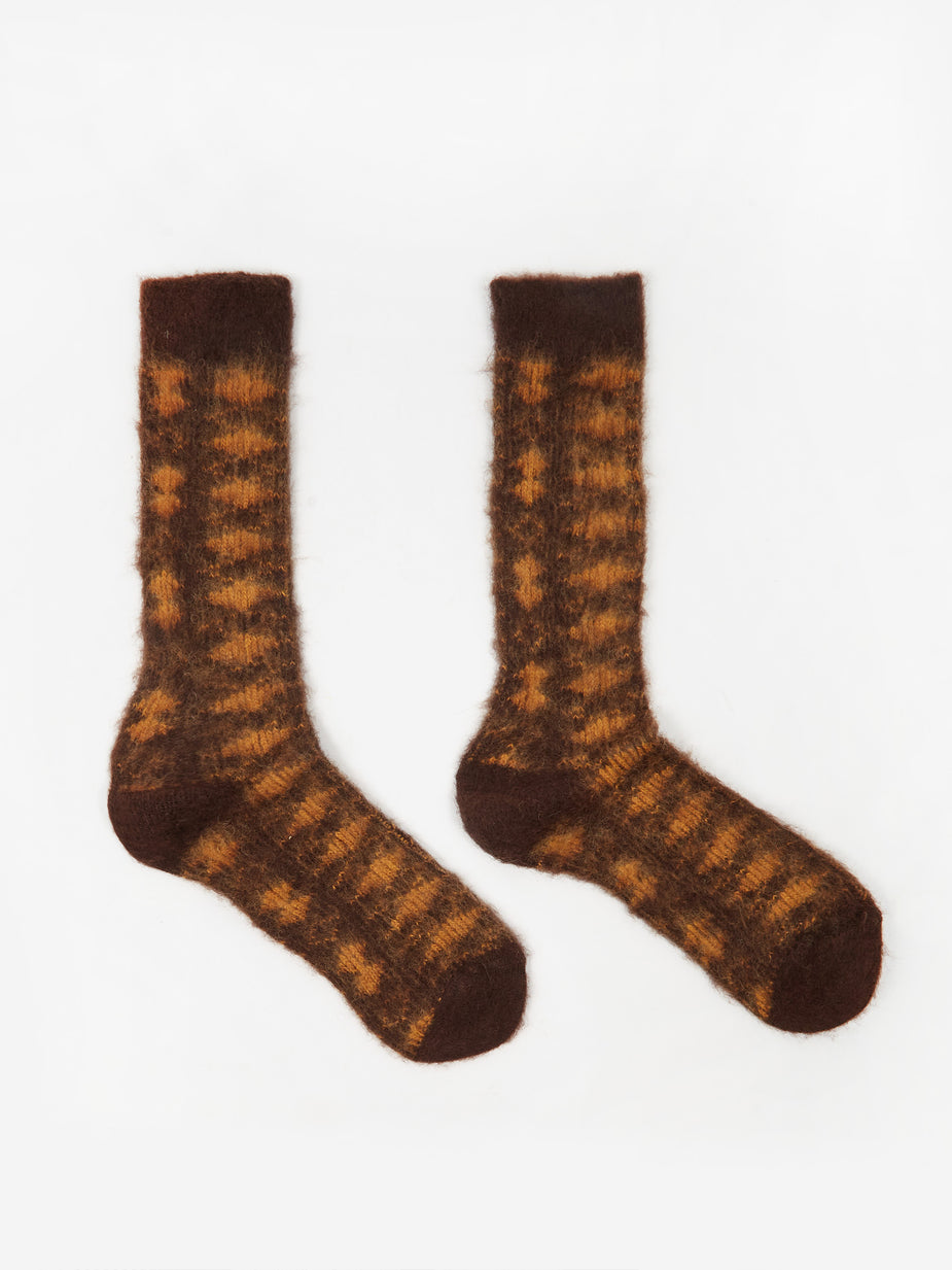 Anonymous Ism Anonymous Ism 5 Brushed Diamond JQ Crew Socks - Brown - Brown