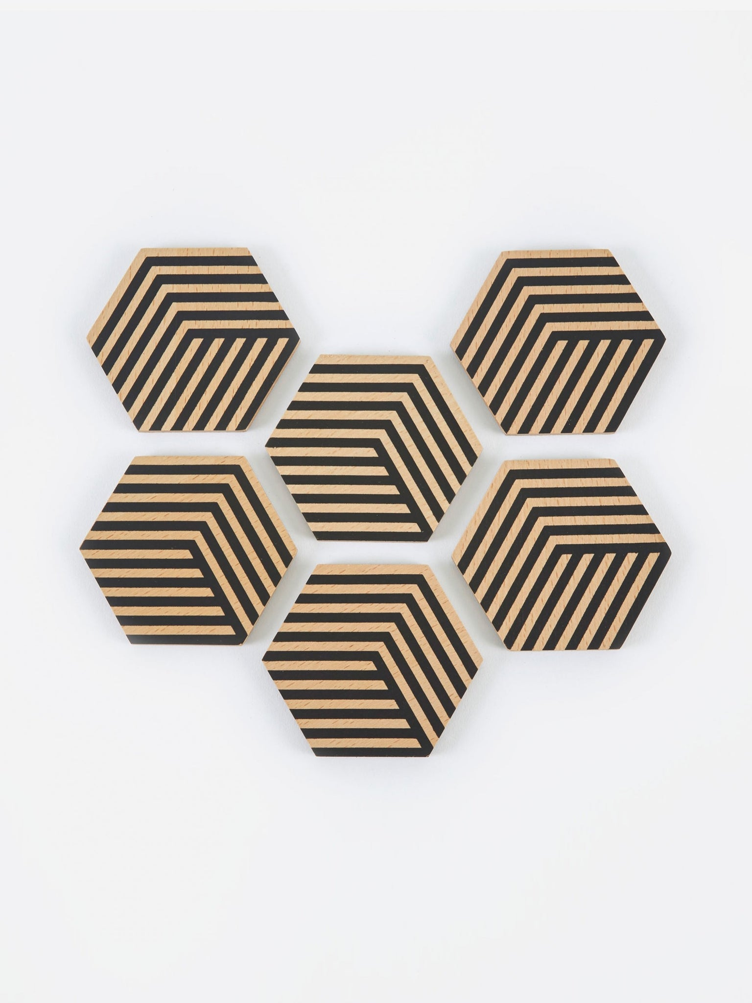 Areaware Table Tiles Optic Coasters - Black