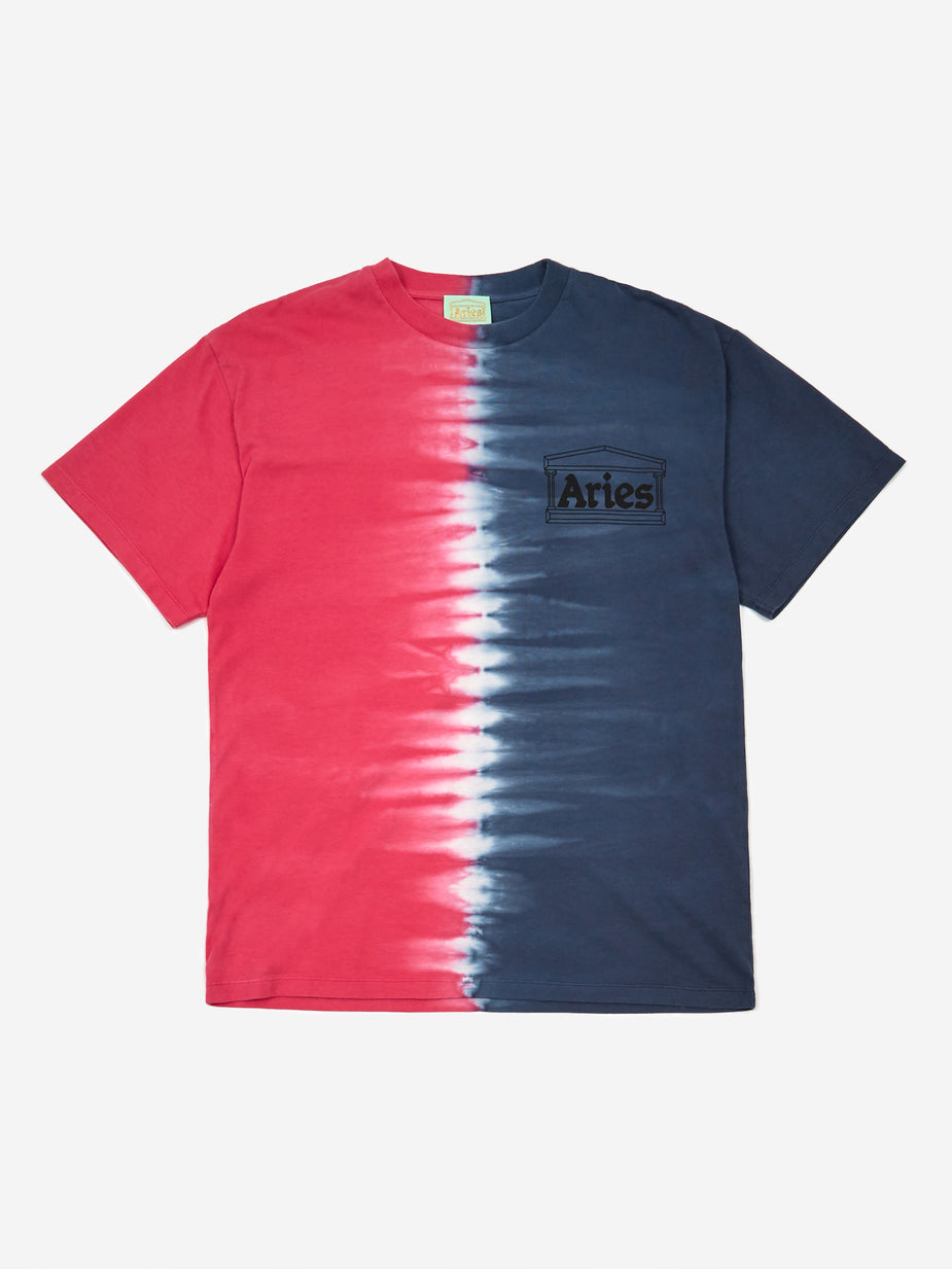 Aries Aries Classic Tie Dye Half and Half Shortsleeve T-Shirt - Blue/Fuschia - Blue