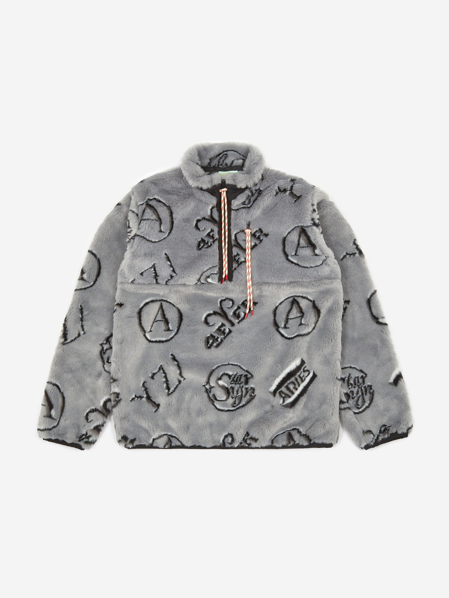 Aries Aries Monogram Half Zip Fleece - Grey - Grey