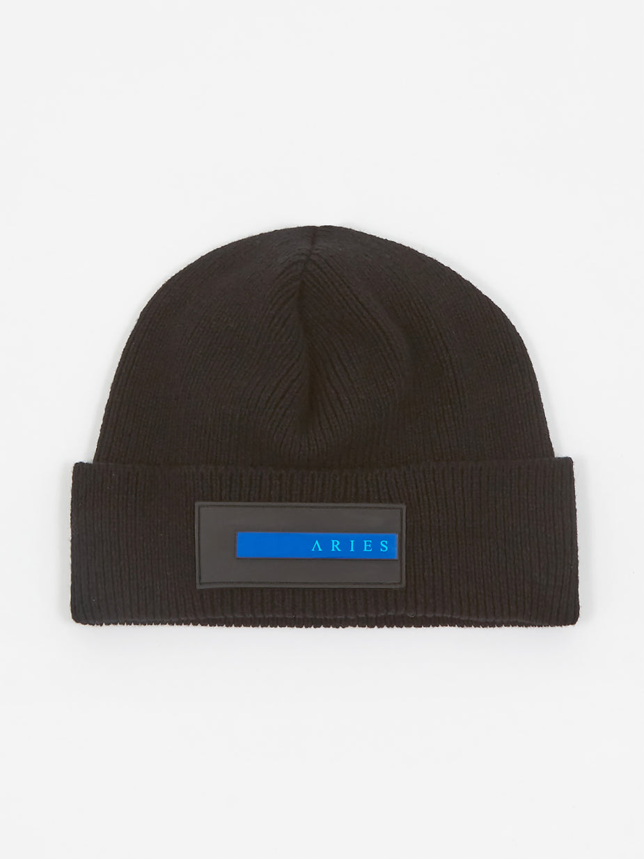 Aries Aries Rubber Patch Beanie - Black - Black