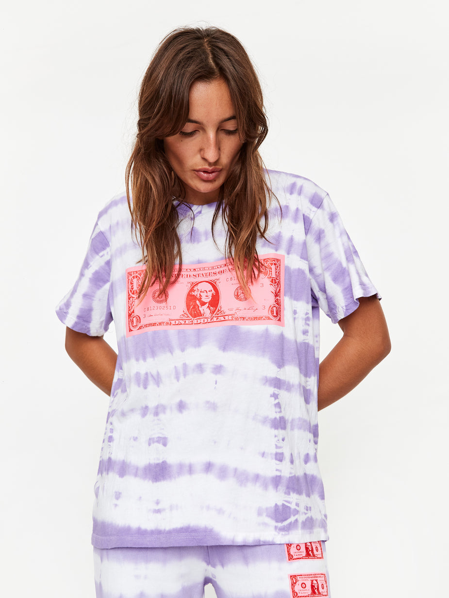 Ashley Williams Ashley Williams Mini T-Shirt - Lilac/White Tie Dye - Purple