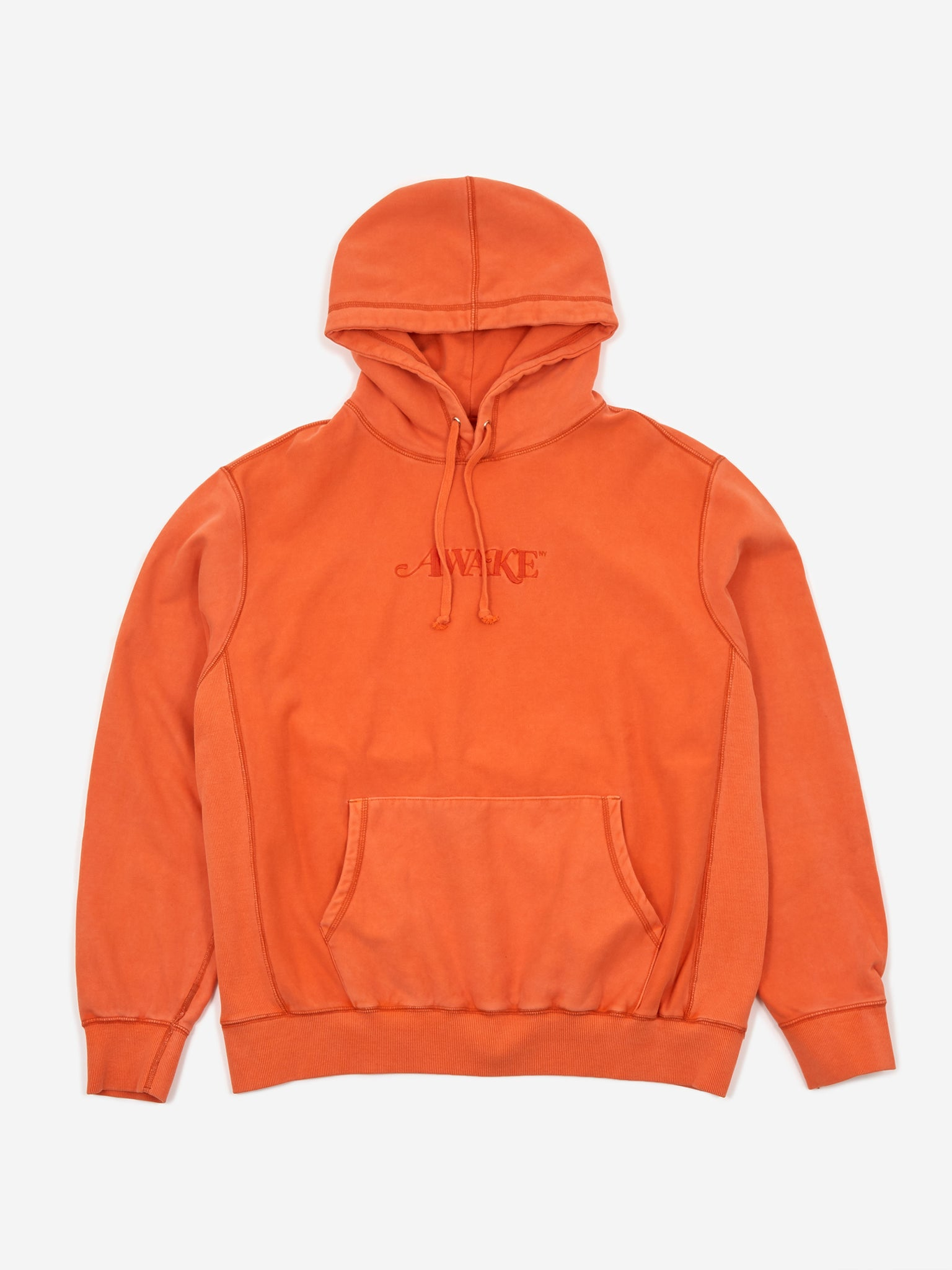 Awake NY Classic Logo Embroidered Hoodie - Red Orange