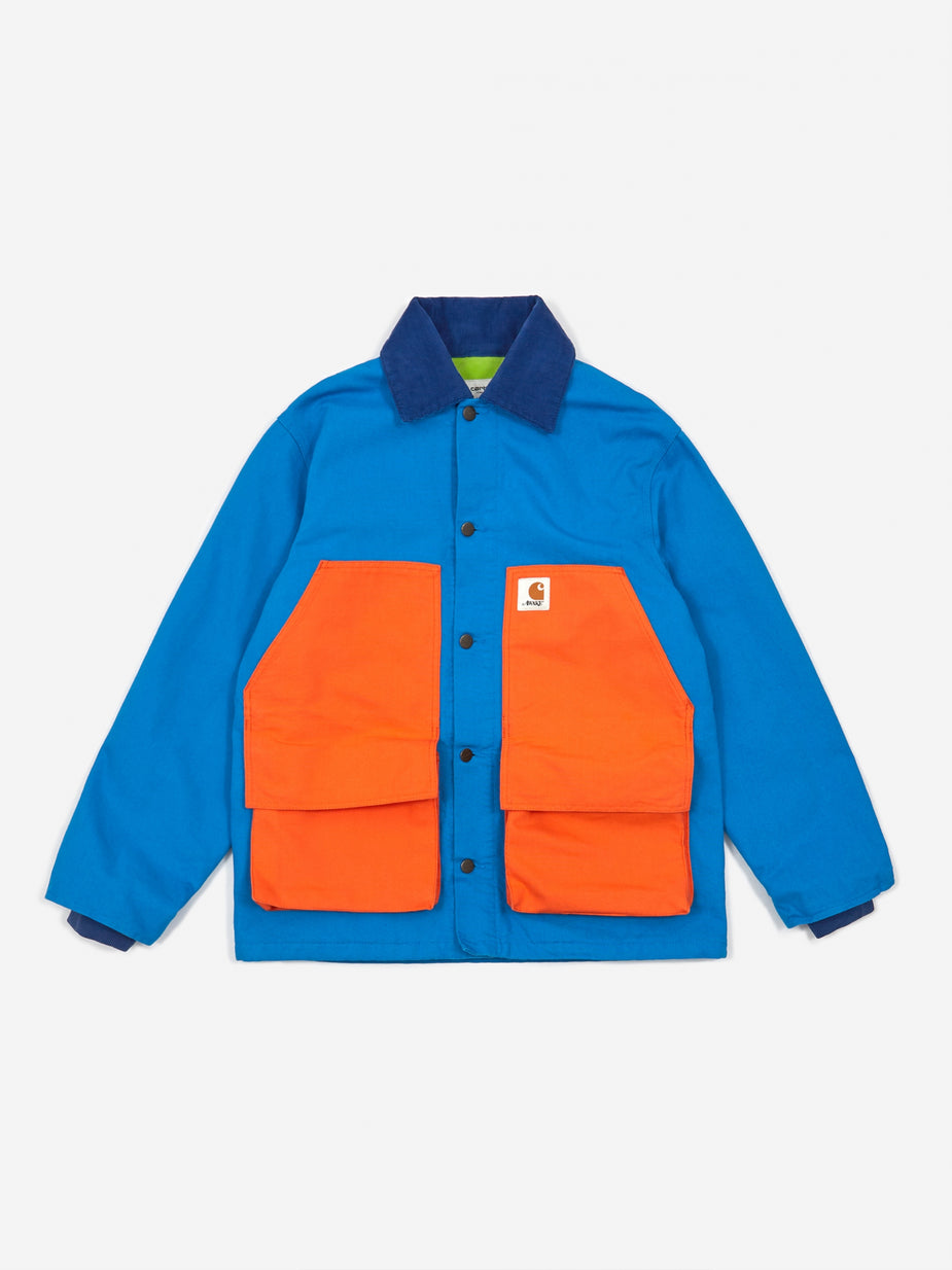 Awake NY Awake NY x Carhartt WIP Chore Coat - Bright Blue/Bright Orange - Orange