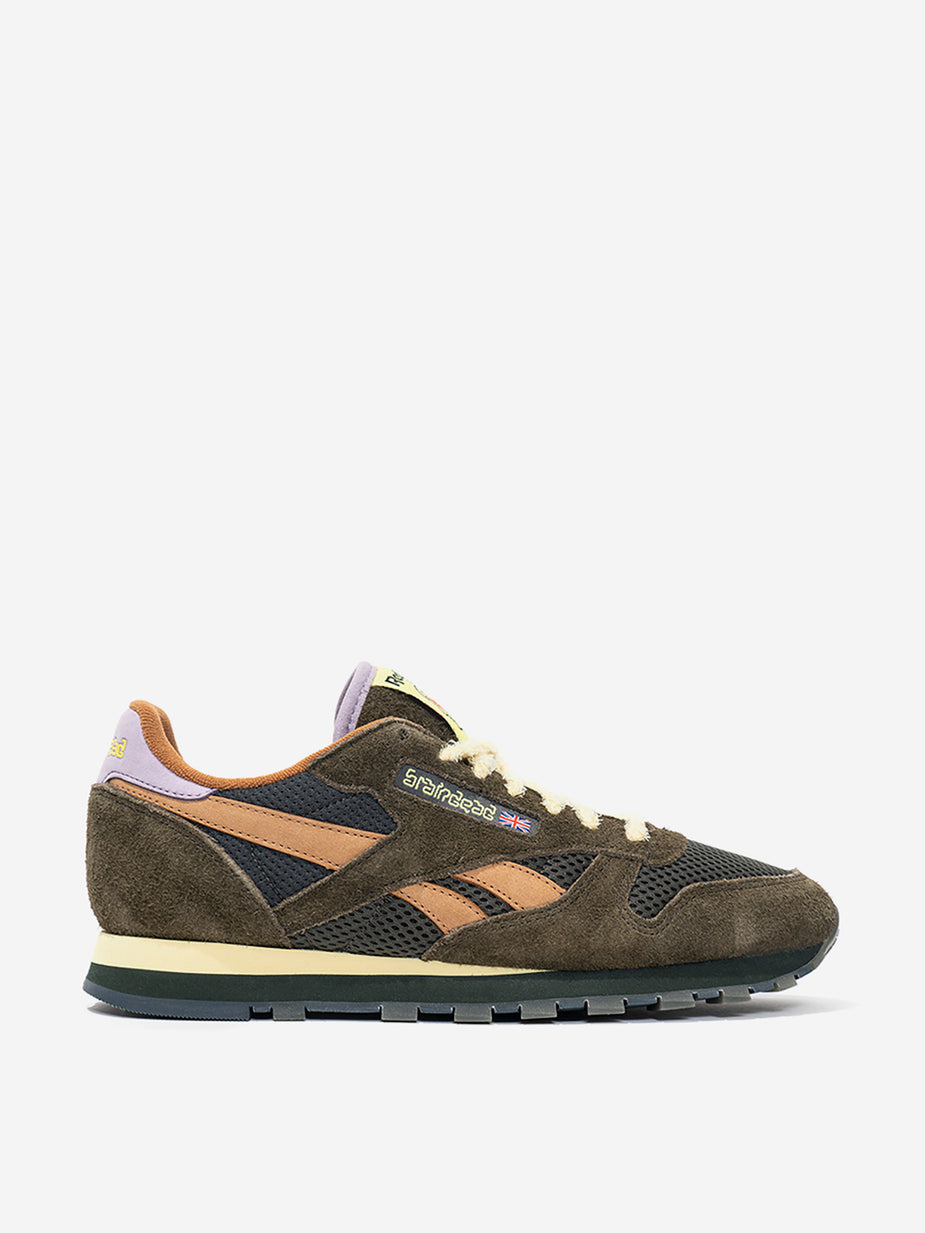 Reebok Reebok x Brain Dead Classic Leather - Moss/Soft Camel/Flitered Yellow - Green