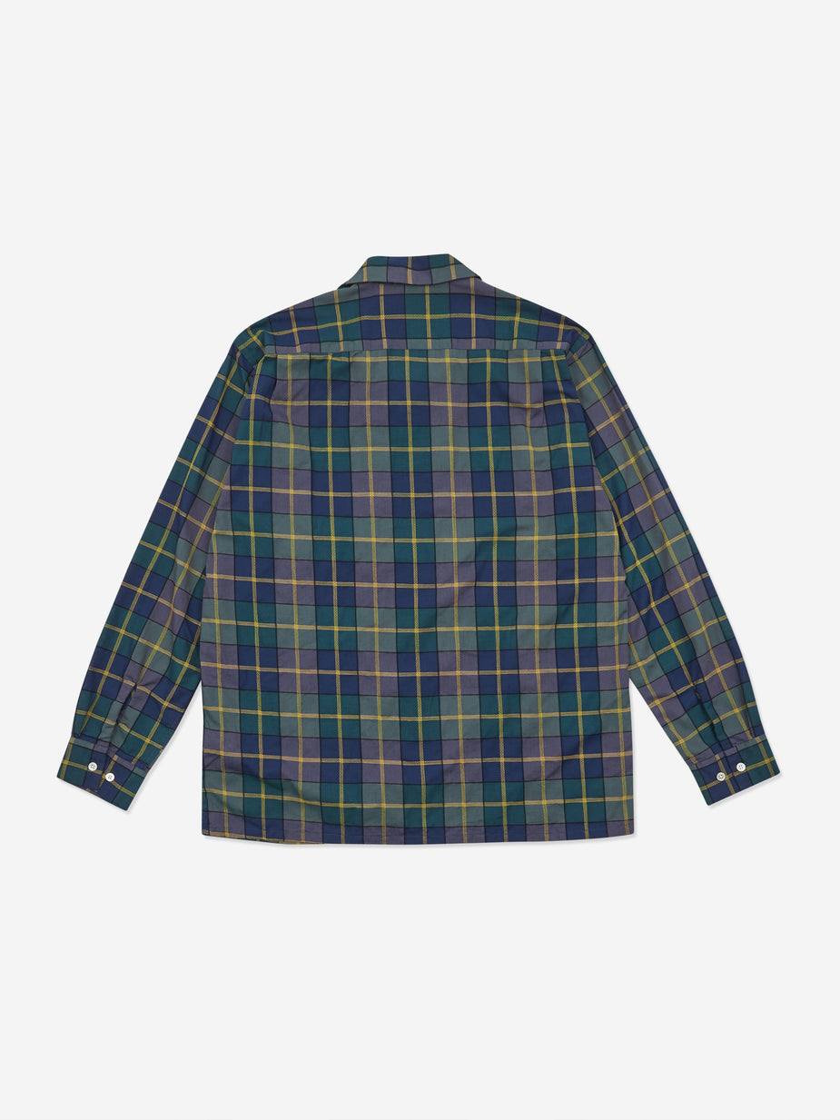 Beams Plus Beams Plus Open Collar Dobby Pen Check Shirt - Navy - Blue
