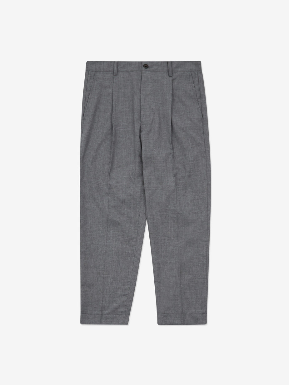 Beams Plus Beams Plus 1 Pleats Combat Wool Tropical Trouser - Grey - Grey
