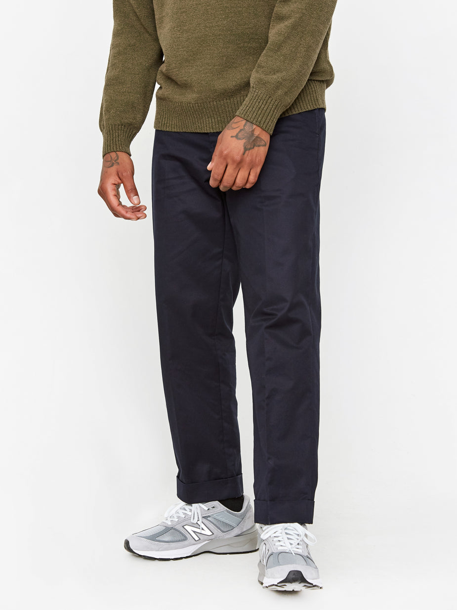 Beams Plus Beams Plus Ivy 80/3 Twill Cotton Trouser - Navy - Blue