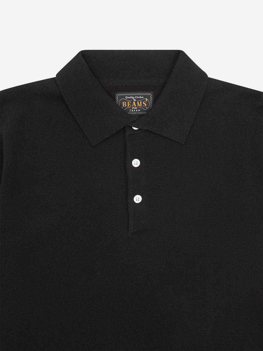 Beams Plus Beams Plus Knit Cotton 12G Polo Shirt - Black - Black