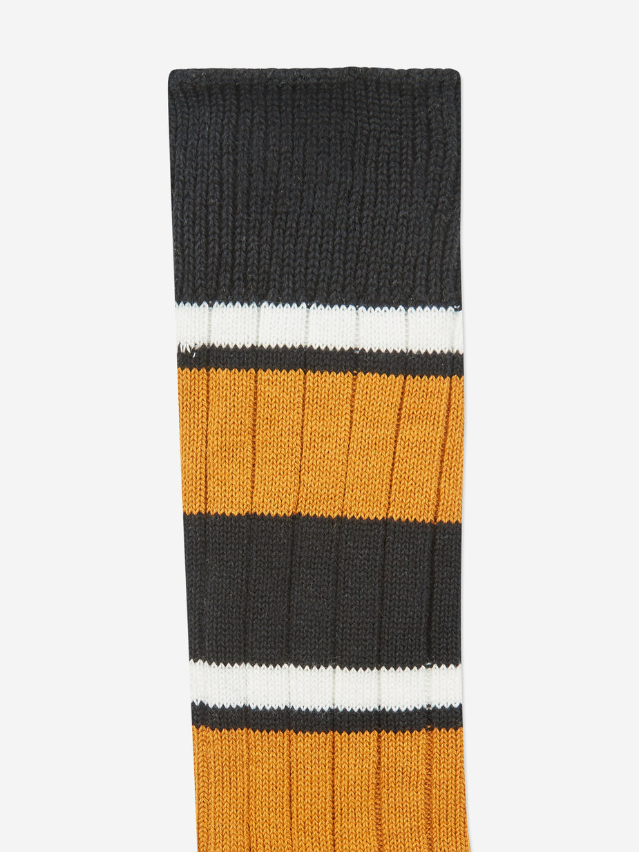 Beams Plus Beams Plus Multi Border Sock - Yellow/Black/Off White - Yellow