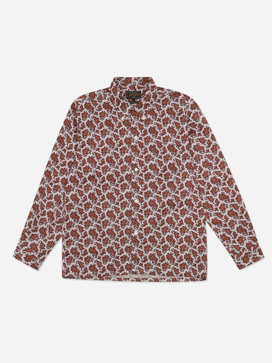 Beams Plus Beams Plus Open Collar B.D Tattersall Print Paisley Shirt - Red - Red