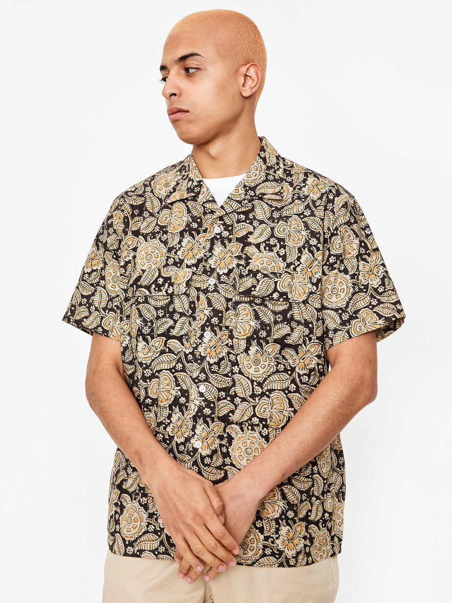 Beams Plus Beams Plus Open Collar Block Print Shortsleeve Shirt - Black/Brown - Brown