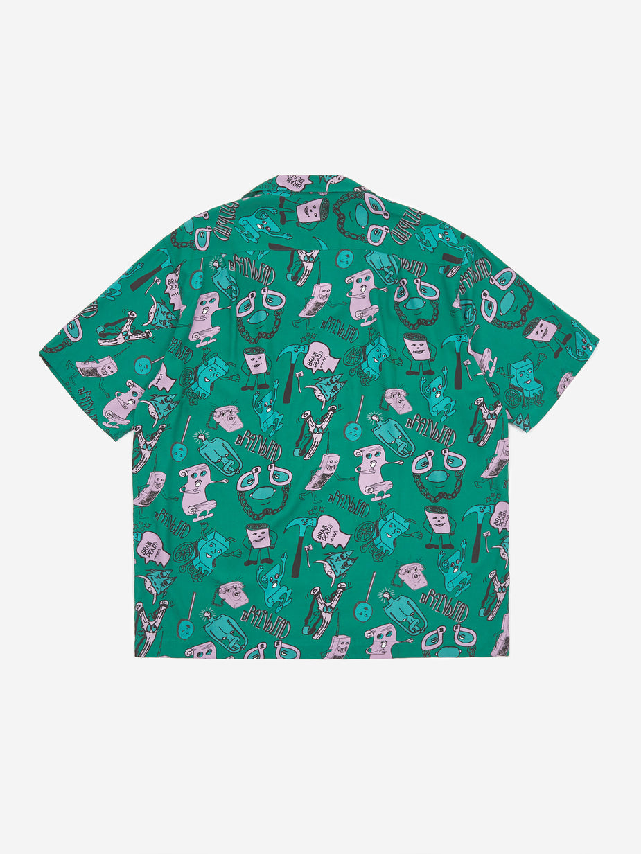 Brain Dead Brain Dead Caricatures Shortsleeve Hawaiian Shirt - Washed Forest - Grey
