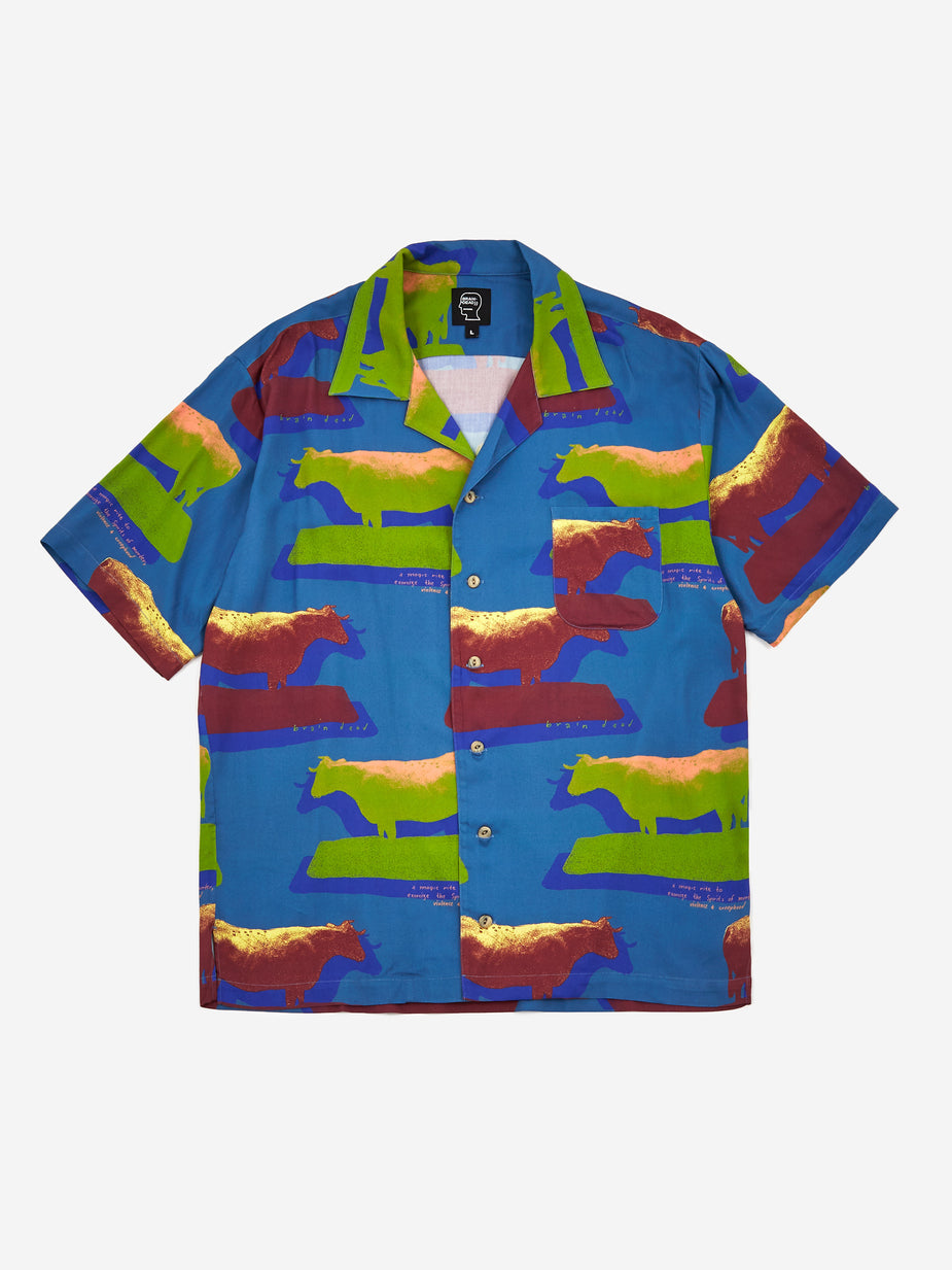 Brain Dead Brain Dead Cow Print Short Sleeve Button Shirt - Multi - Multi