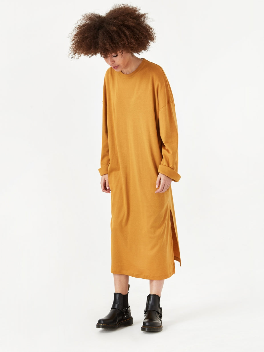 Can Pep Rey Can Pep Rey Pia Loose Fit Longsleeve Dress - Honey Mustard - Yellow
