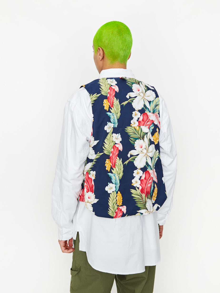 Engineered Garments Engineered Garments Game Vest - Navy Hawaiian Floral - Blue