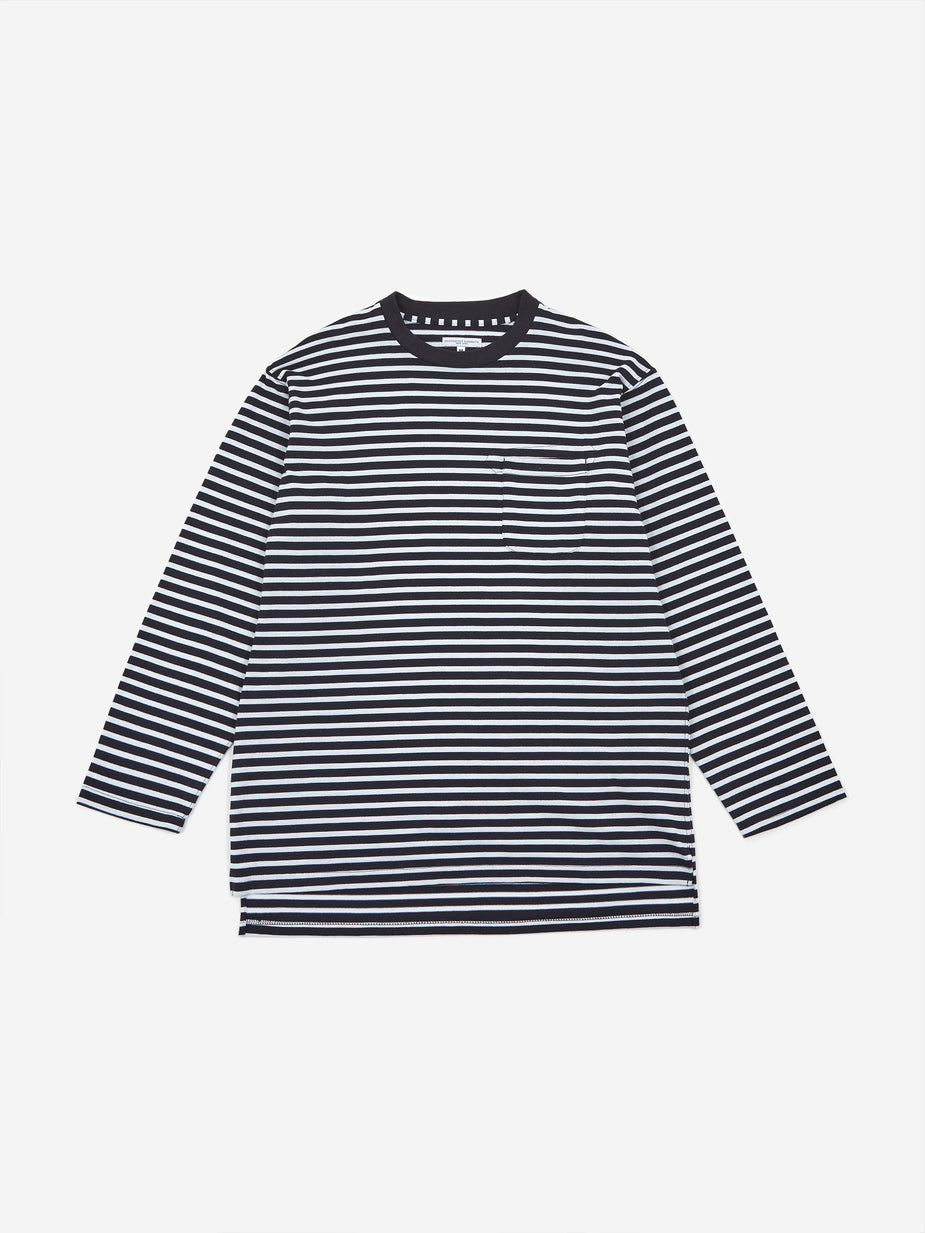 Engineered Garments Engineered Garments Thermal Crewneck T-Shirt - Navy/White Stripe - White