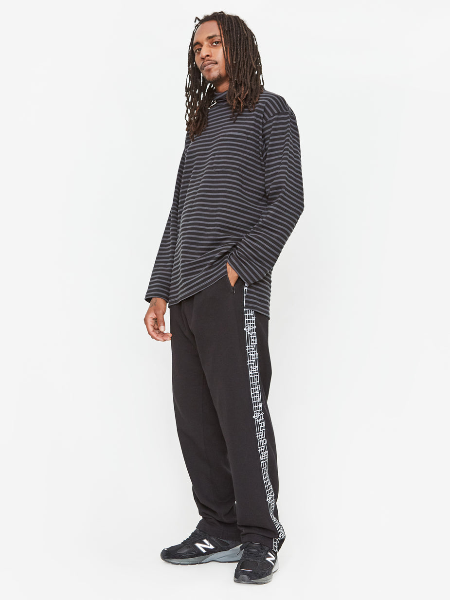 Engineered Garments Engineered Garments Mock Turtle Neck T-Shirt - Charcoal/Black Stripe - Grey