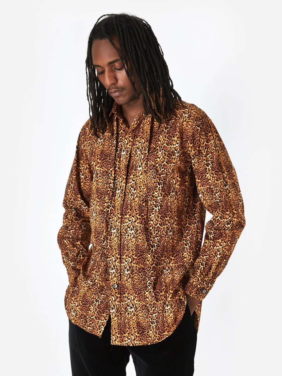 Engineered Garments Engineered Garments Rounded Collar Shirt - Brown Leopard Print - Brown