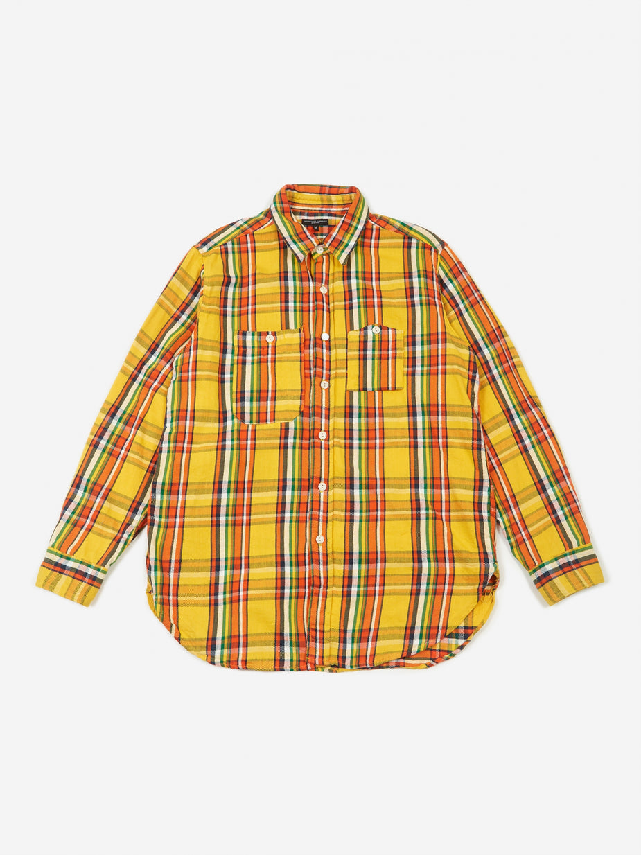 Engineered Garments Engineered Garments Work Shirt - Yellow Cotton Twill Plaid - Yellow