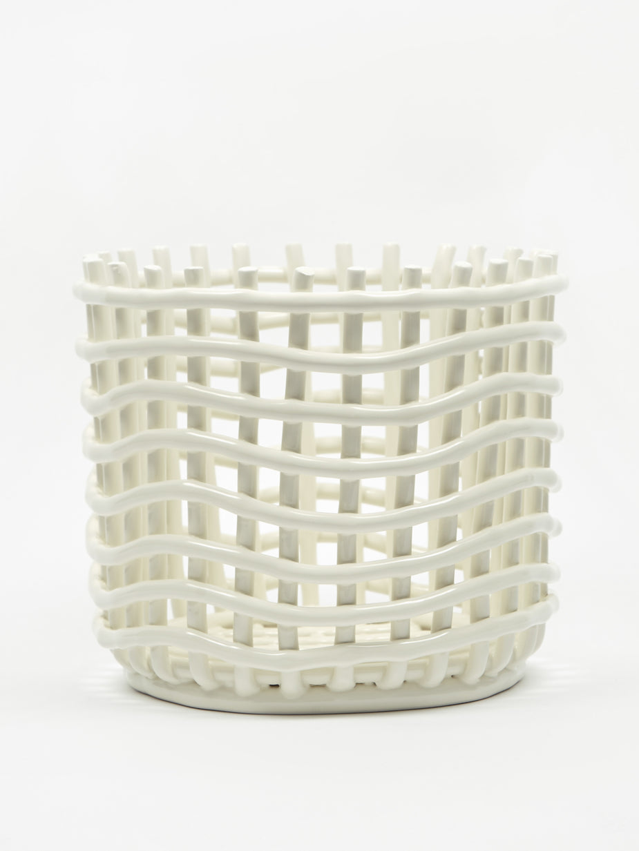 Ferm Living Ferm Living Ceramic Basket Large - Off White - Black