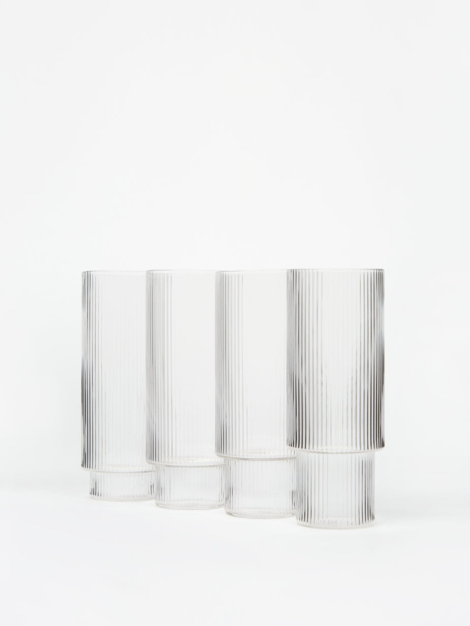 Ferm Living Ferm Living Ripple Long Drink Glass - Set of 4 - Clear - Other