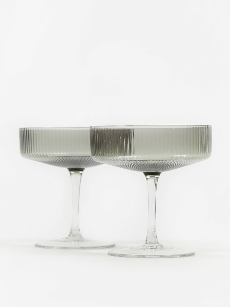 Ferm Living Ferm Living Ripple Champagne Saucer - Set of 2 - Smoke - Other