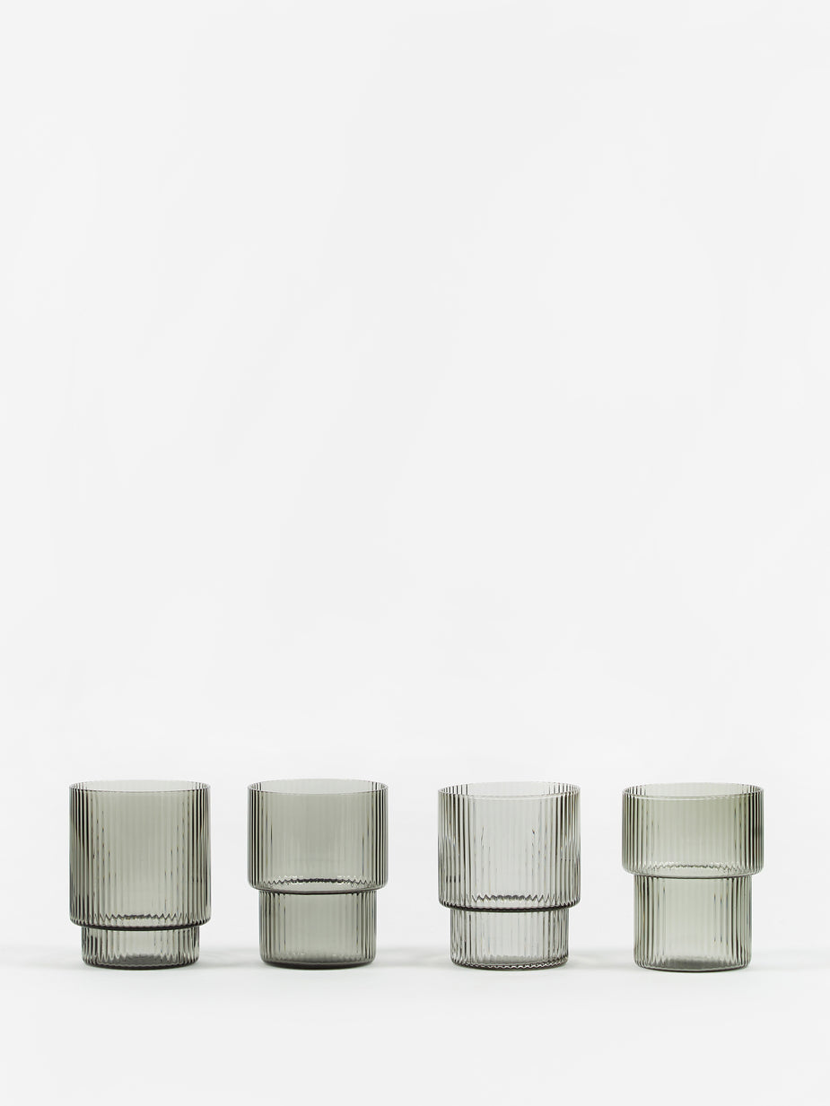 Ferm Living Ferm Living Ripple Short Drink Glass - Set of 4 - Smoked Grey - Other