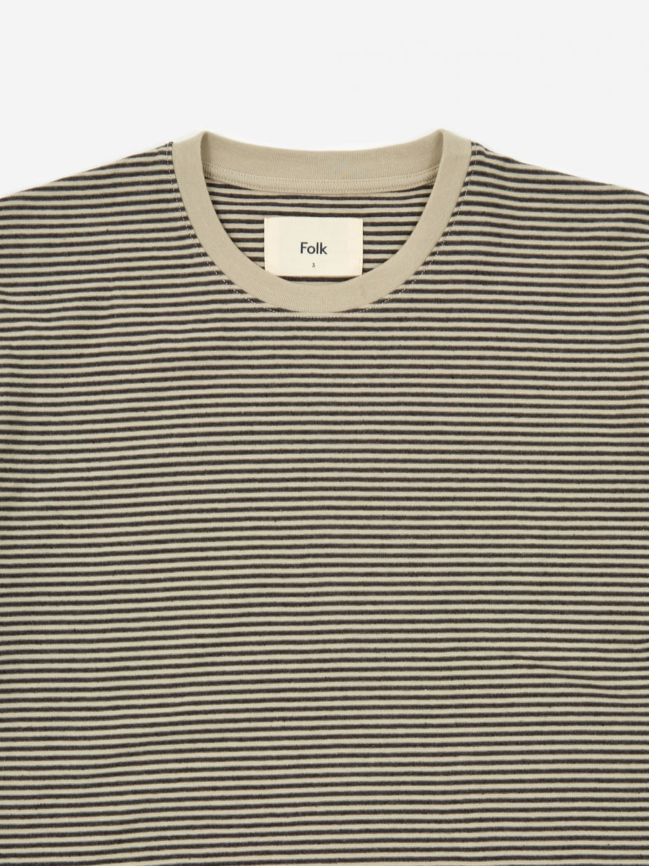 Folk Folk 1x1 Stripe Shortsleeve T-Shirt - Charcoal Melange Stone - Grey