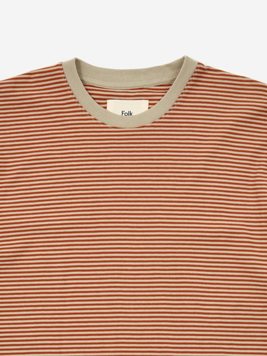 Folk Folk 1x1 Stripe Shortsleeve T-Shirt - Cinnamon Stone - Grey