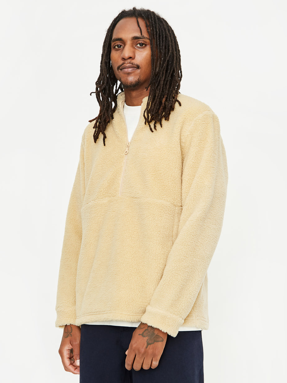 Folk Folk Funnel Neck Fleece Pullover - Tan - Brown