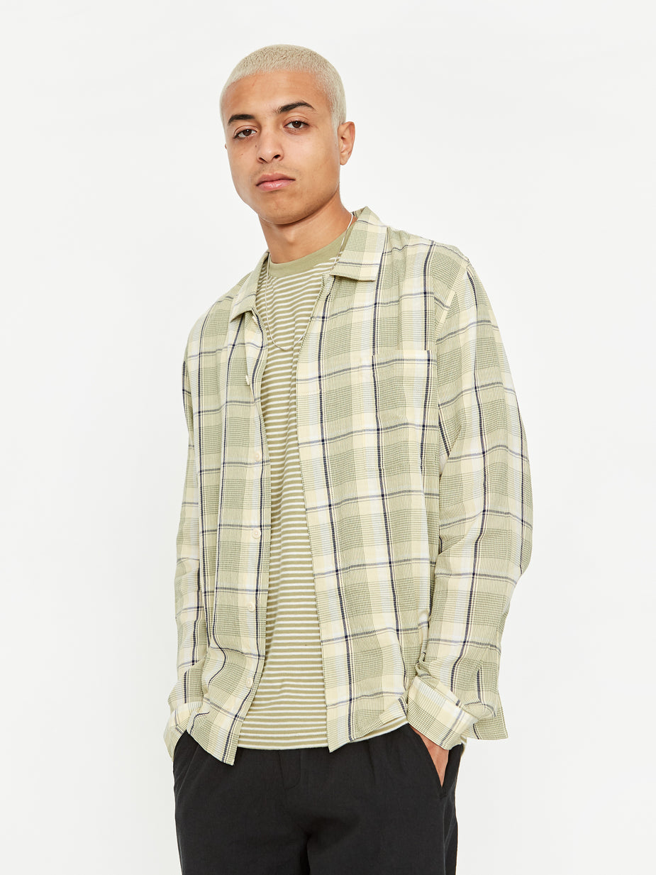 Folk Folk Patch Shirt - Olive Multi Check - Green