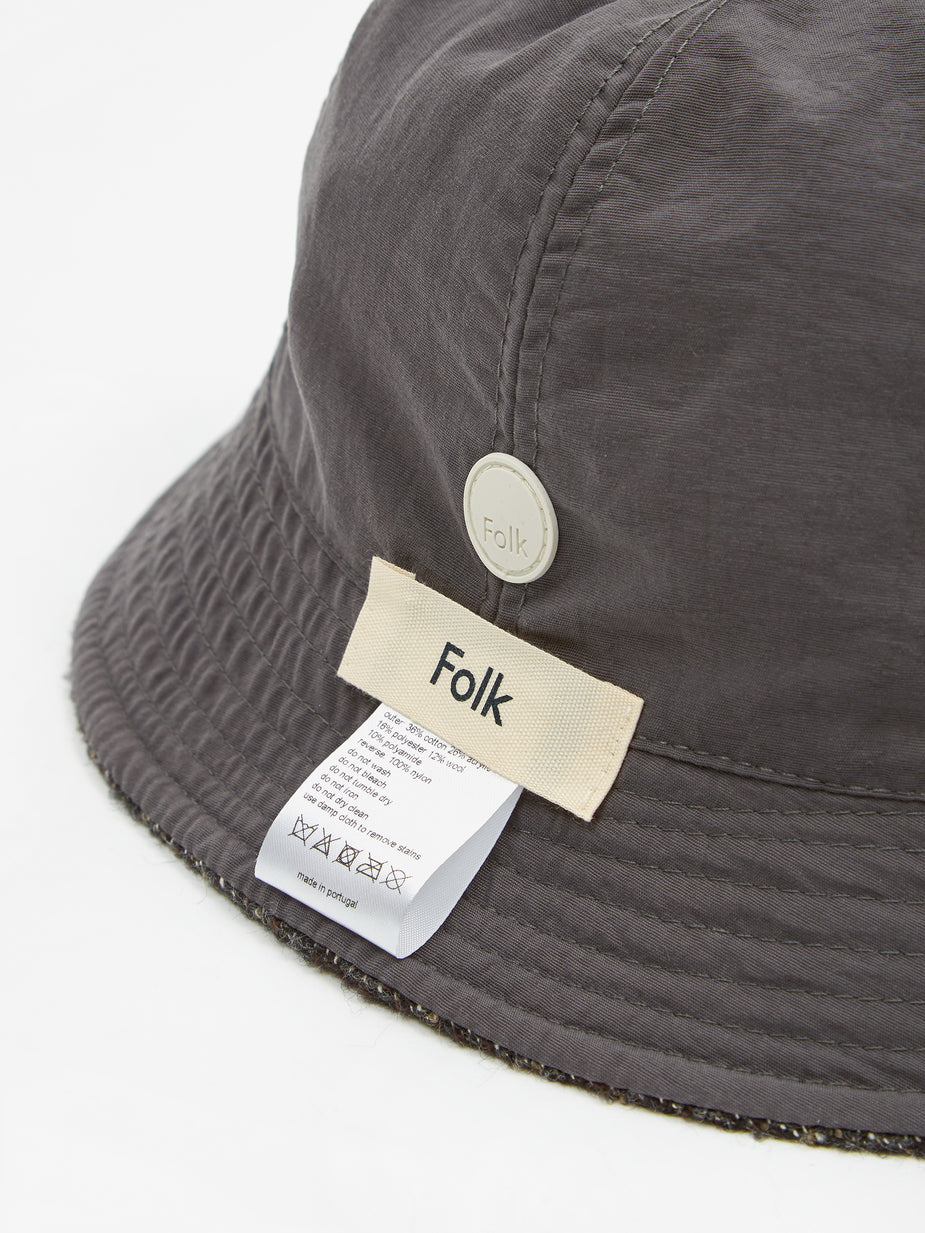 Folk Folk Reversible Bucket Hat - Mottled Charcoal - Grey