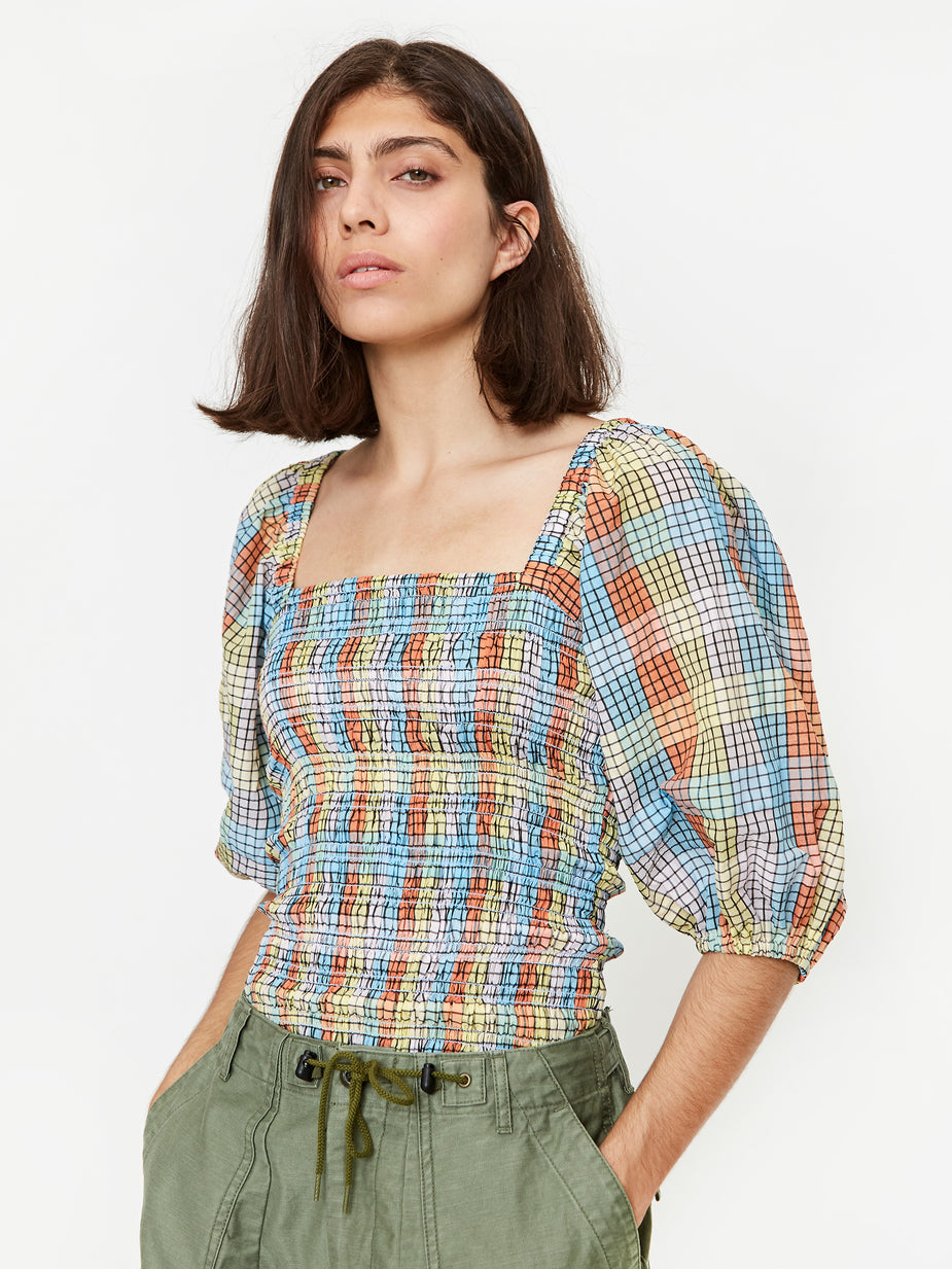 Ganni Ganni Cotton Seersucker Check Top - Multicolour - Multi