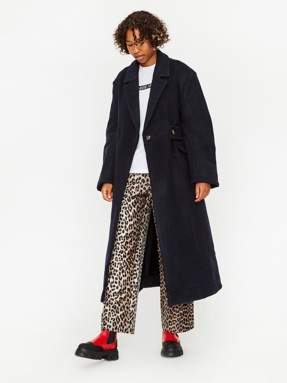 Ganni Ganni Double Wool Coat - Sky Captain - Blue