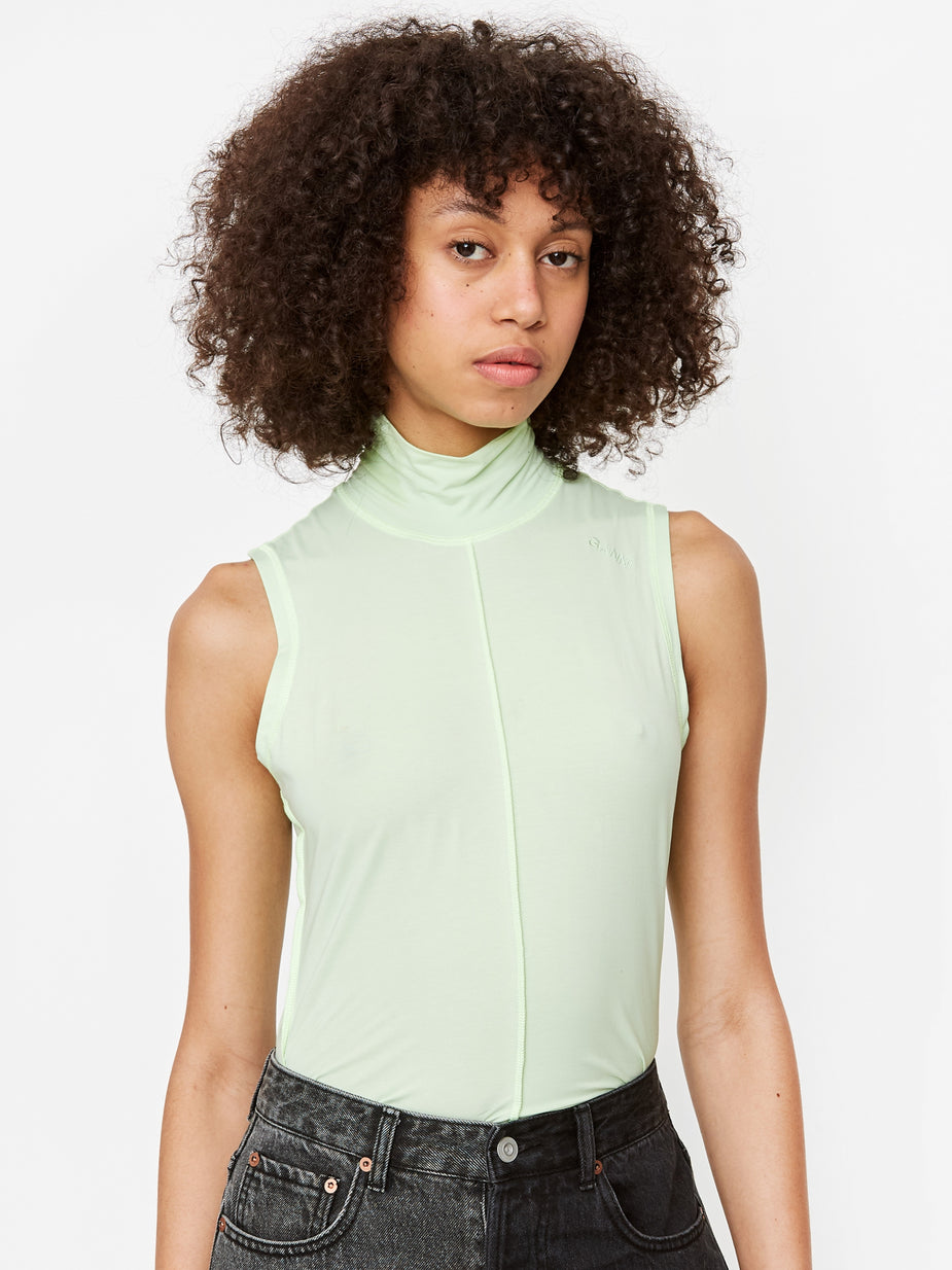 Ganni Ganni Light Stretch Jersey Sleeveless Top - Patina Green - Green