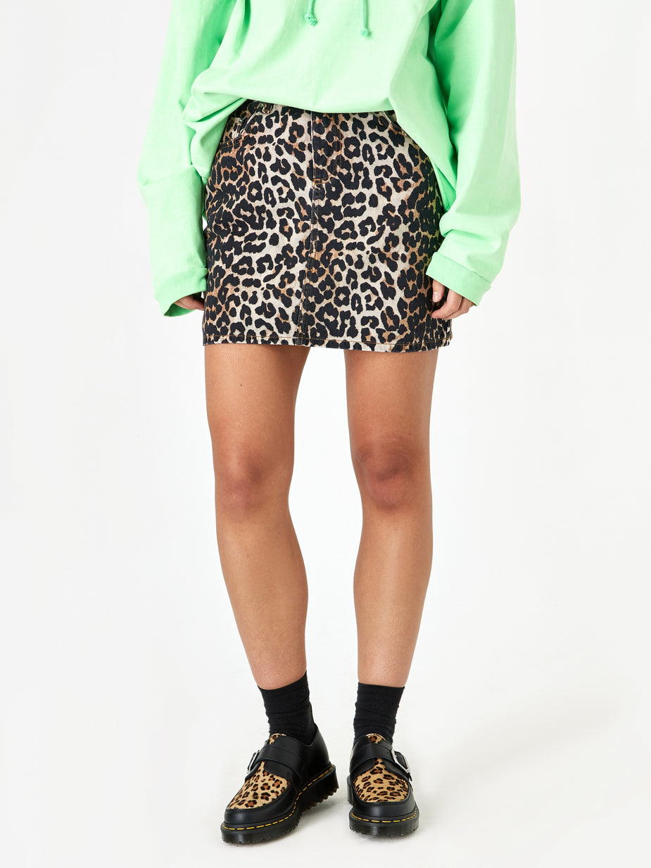 Ganni Ganni Print Denim Skirt - Leopard - Animal Print