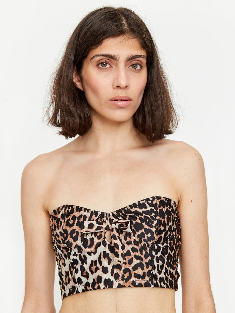 Ganni Ganni Recycled Printed Bikini Top - Leopard - Animal Print