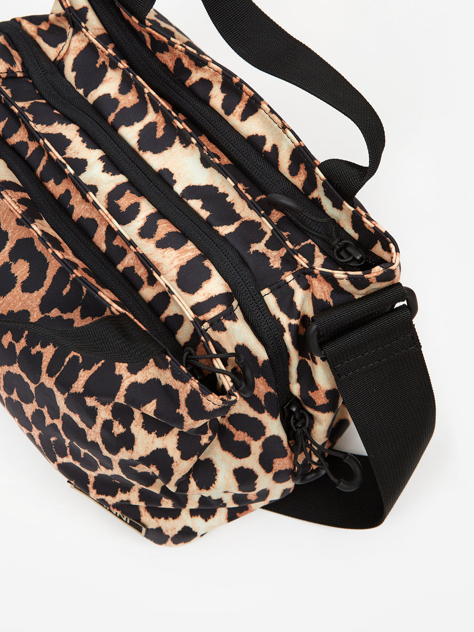 Ganni Ganni Recycled Tech Fabric Messenger Bag - Leopard - Animal Print