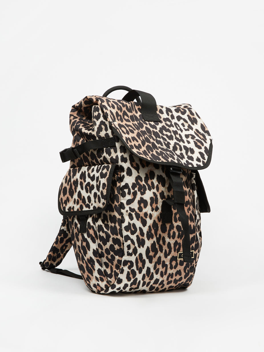 Ganni Ganni Recycled Tech Fabric Rucksack - Leopard - Animal Print
