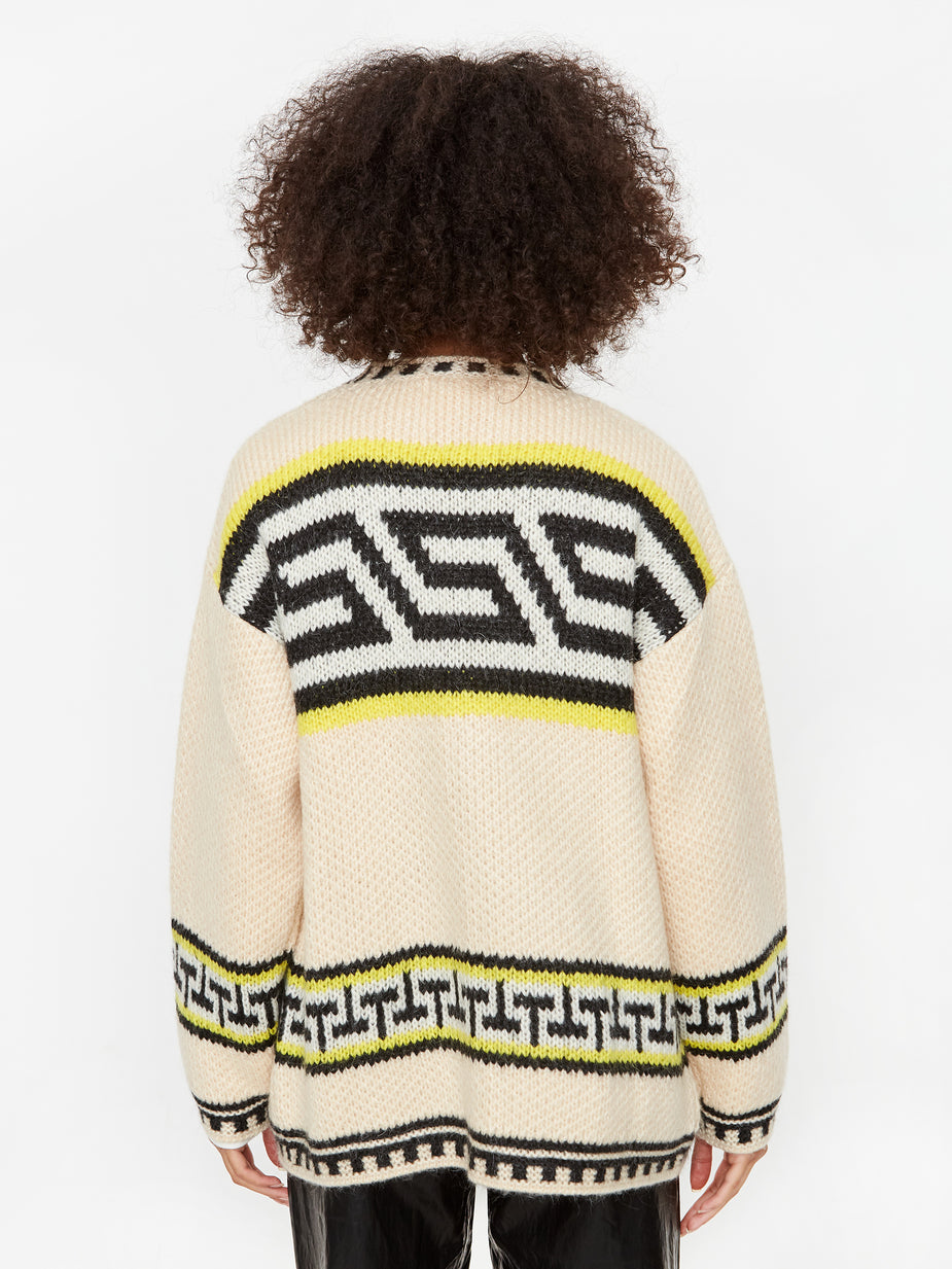 Girls Of Dust Girls Of Dust Stripe Native Knitted Cardigan - Ivory - White