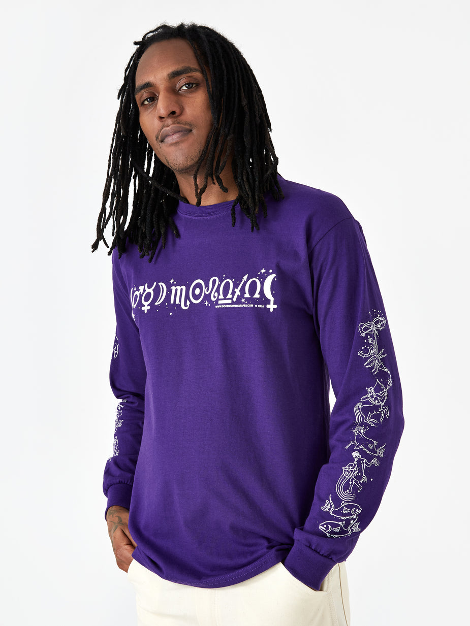 Good Morning Tapes Good Morning Tapes Astrology Longsleeve T-Shirt - Purple - Purple