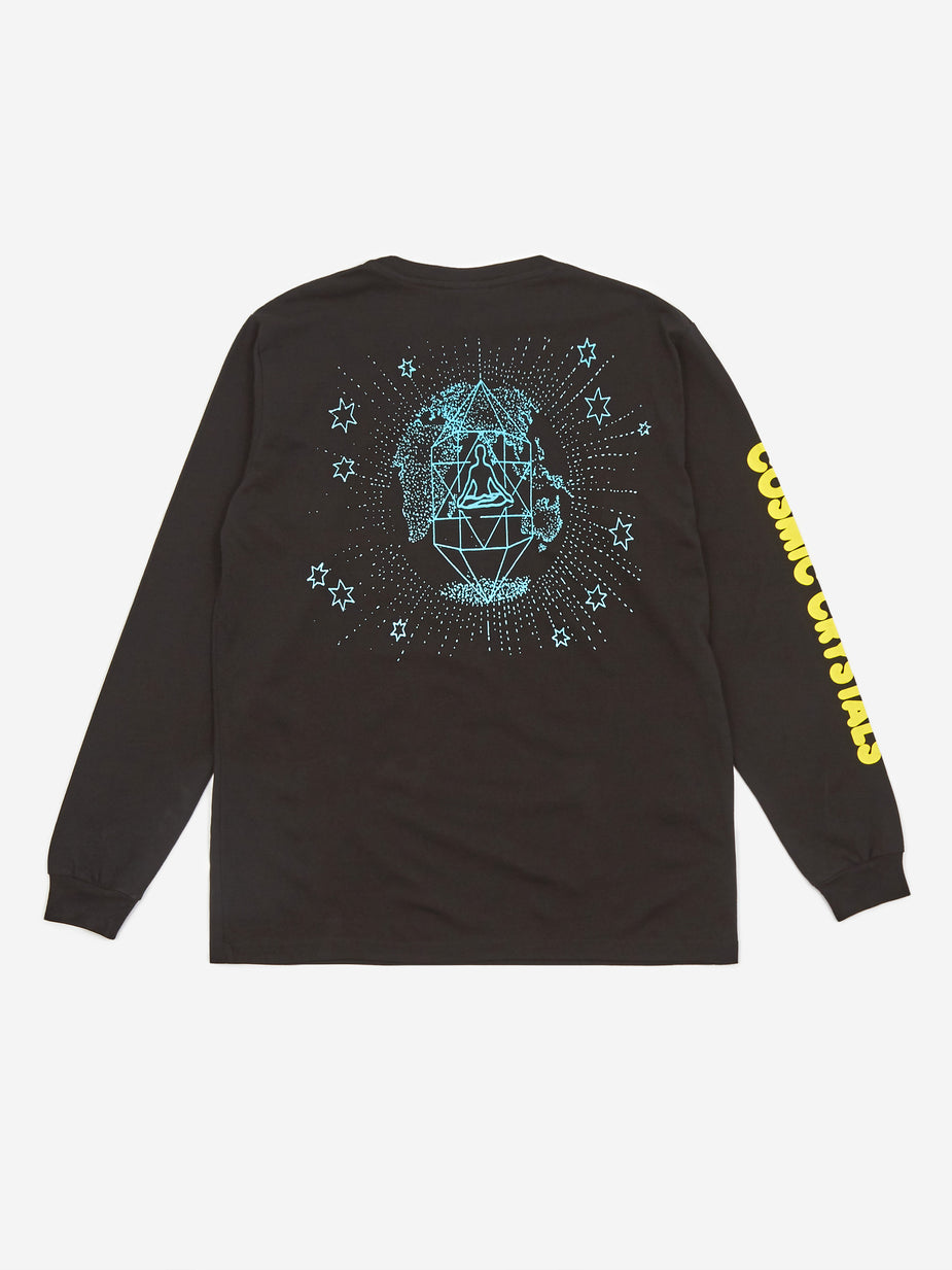 Good Morning Tapes Good Morning Tapes Cosmic Crystals Longsleeve T-Shirt - Washed Black - Black