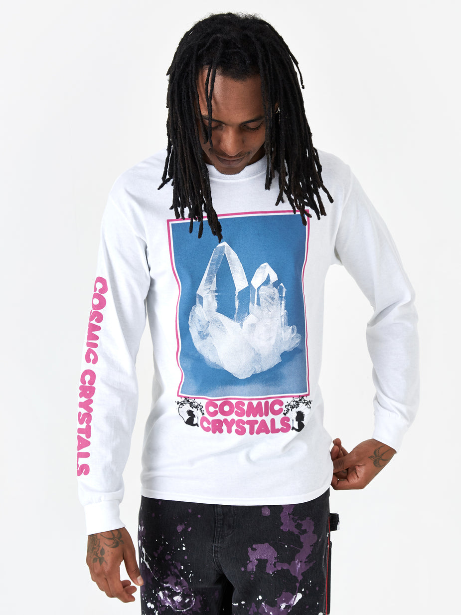 Good Morning Tapes Good Morning Tapes Cosmic Crystals Longsleeve T-Shirt - White - White