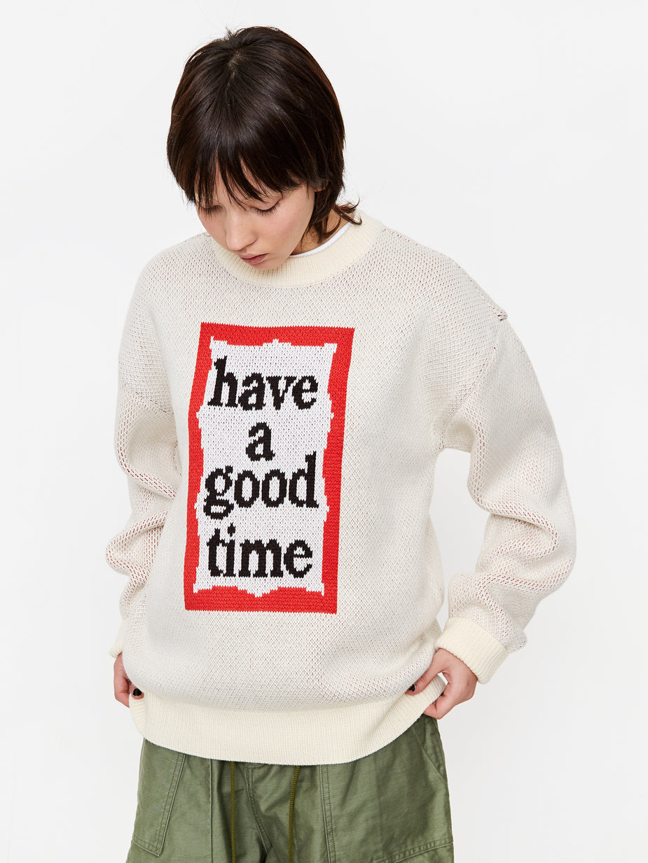 Have A Good Time Have A Good Time Frame Crewneck Knit Jumper - Cream - White