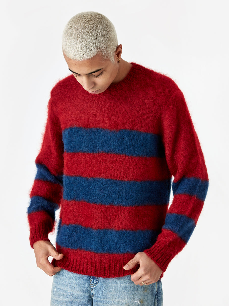 Undercover JohnUNDERCOVER Striped Knit Jumper (JUX4901-1) - Red Border - Red