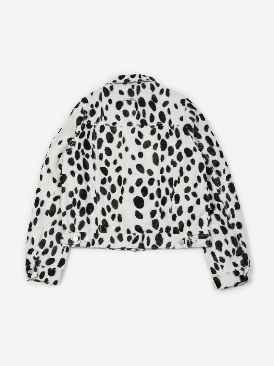 MadeMe MadeMe Dalmation Faux Fur Trucker Jacket - White - White