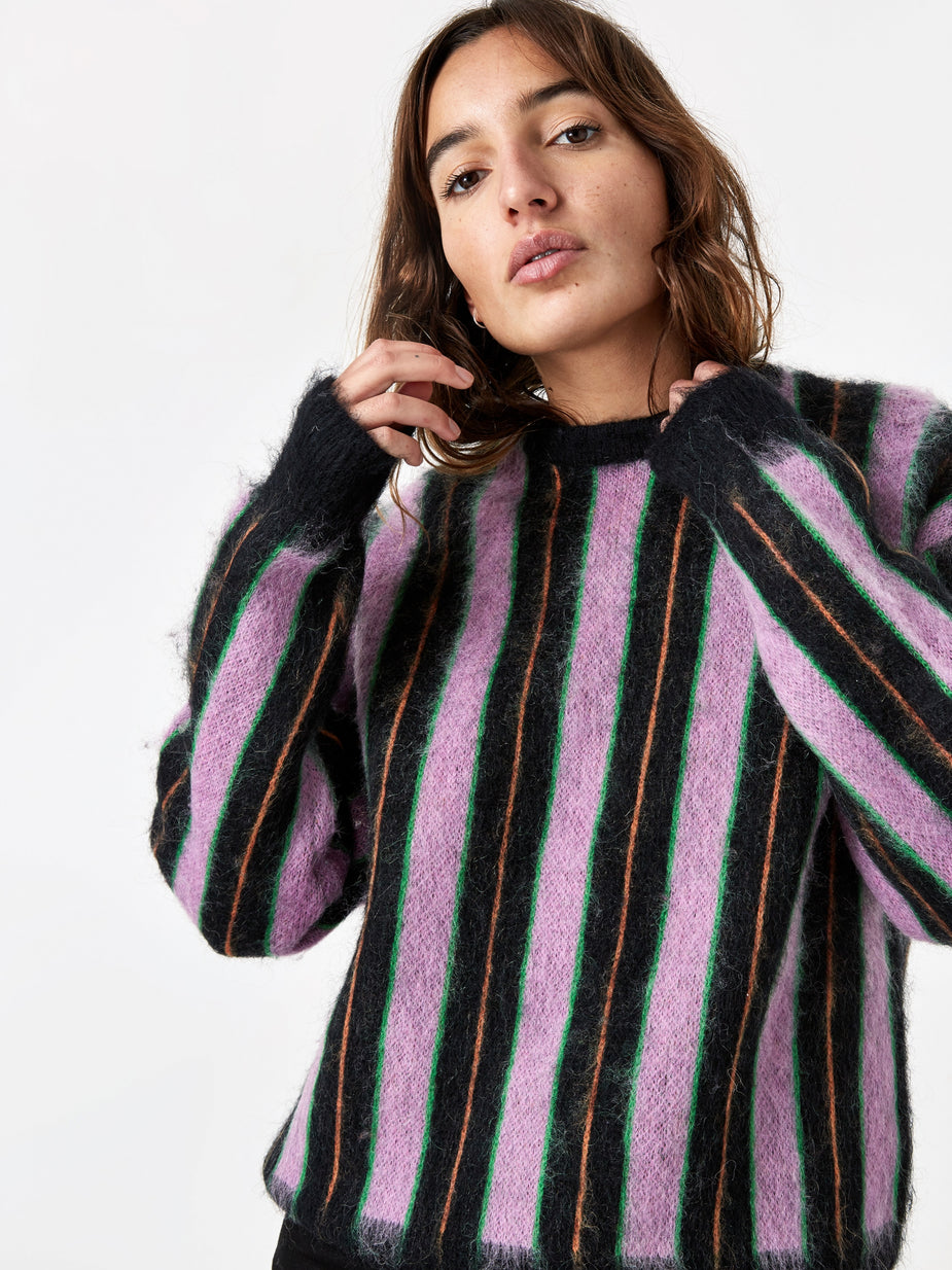 MadeMe MadeMe Vertical Striped Mohair Sweater - Black - Black